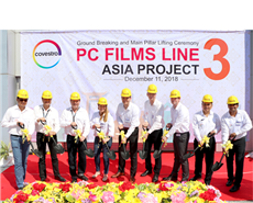 Covestro employees support the ground-breaking ceremony for a new films production in Thailand, among them Dr. Thorsten Drier, Global Head of the Films Segment (third from right).