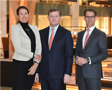 DSM CEO Feike Sijbesma (centre) will be replaced by Geraldine Matchett (left) and Dimitri de Vreeze (right).