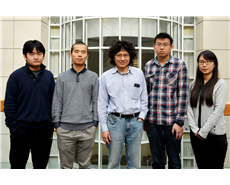 (From left) Ruyi Zhu, Qing-Feng Wu (first author), Jin-Quan Yu (senior author), Peng-Xiang Shen and Qian Shao were among the study authors at The Scripps Research Institute.