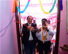 Ajay Durrani, managing director, Covestro India (left) and Rajan Samuel, managing director, Habitat for Humanity India inaugurating the new sustainable house.