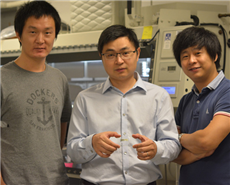 Cunjiang Yu, Bill D. Cook Assistant Professor of mechanical engineering, center, and co-first authors Xu Wang, left, and Kyoseung Sim, right.