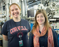 Rachel Hestrin (right) on the beamlines at Canadian light Source with fellow Cornell researcher Angela Possinger