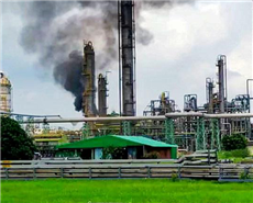 East Midnapore: Smoke rises after a fire breaks out at Naptha Cracker unit of Haldia Petrochemicals Ltd., at Haldia in East Midnapore. (PTI Photo)